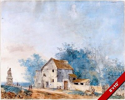 18th Century Farmhouse (FRENCH FARMHOUSE 18TH CENTURY WATERCOLOR PAINTING ART REAL CANVAS GICLEE PRINT )