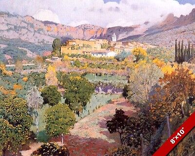 Orange Grove Orchard Trees In Biniaraix Spain Painting Art Real Canvas Print