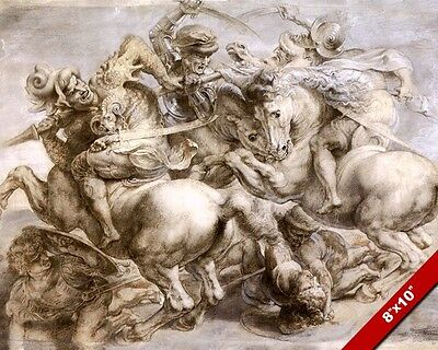 PETER RUBENS LOST LEONARDO DA VINCI PAINTING BATTLE OF ANGHIARI CANVAS ART PRINT