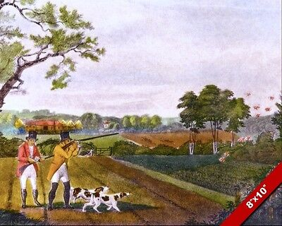VINTAGE GENTLEMEN & DOGS BIRD HUNTING PARTRIDGE PAINTING ART REAL CANVAS PRINT