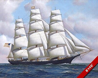 - FLYING CLOUD US AMERICAN CLIPPER SHIP AT SEA OIL PAINTING PRINT ON REAL CANVAS