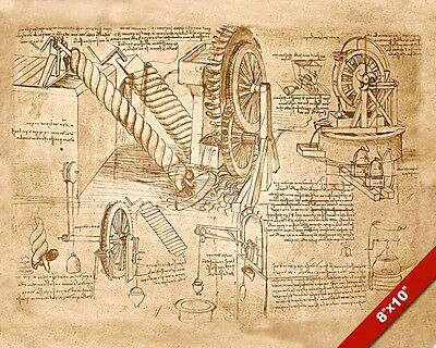 LEONARDO DA VINCI SKETCH ARCHIMEDES WATER MACHINE PAINTING REAL CANVAS ART PRINT