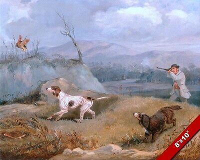 1800 ENGLISH MAN GROUSE BIRD HUNTING W DOGS PAINTING ART REAL CANVAS PRINT
