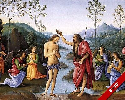 CATHOLIC BAPTISM OF JESUS PAINTING CHRISTIAN BIBLE HISTORY ART REAL CANVAS PRINT Baptism Of Jesus Painting