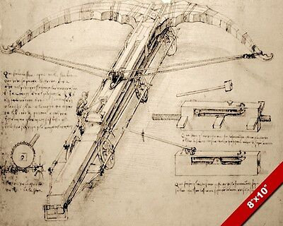 LEONARDO DA VINCI SKETCH MASSIVE SEIGE CROSSBOW WEAPON PAINTING CANVAS ART PRINT