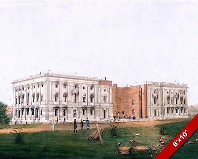 United States Capitol Ruins 1812 War British Fire Painting Print On Real Canvas