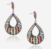 Hollow Tear Drop Vintage Gemstone Rhinestone Stud Earrings