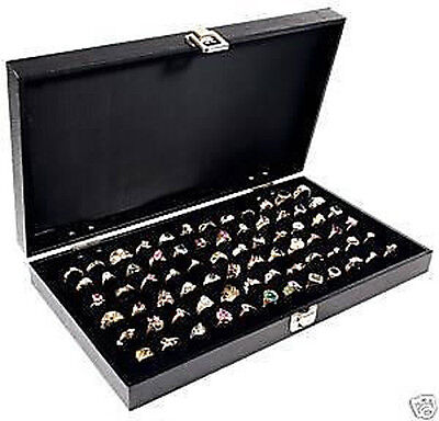 72 Ring Solid Top Display Case Jewelry Black Organizer