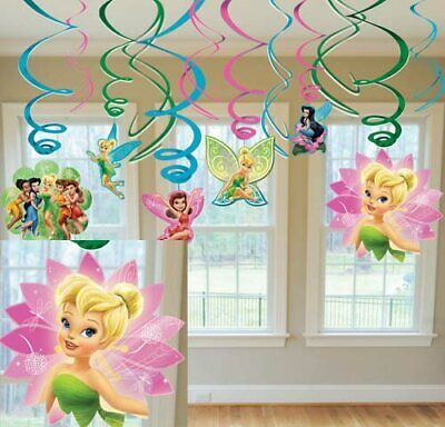 TINKER BELL & DISNEY FAIRIES HANGING SWIRL DECORATIONS (12) ~ Party Supplies