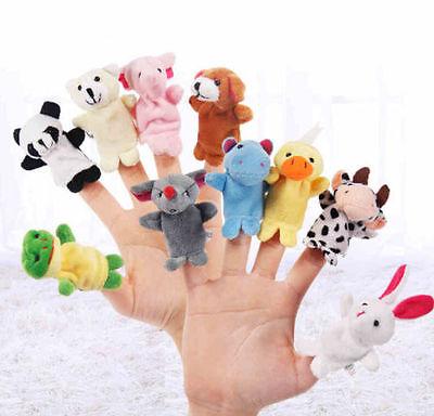 - 2/10Pcs Finger Puppet Cloth Plush Doll Educational Hand Cartoon Animal Baby Toy