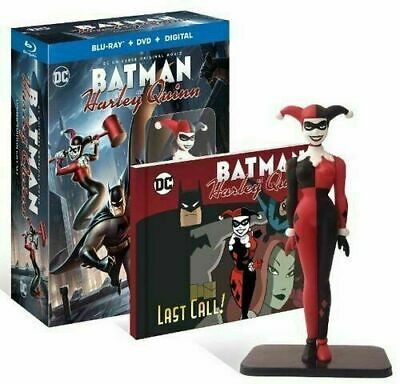 NEW Batman and Harley Quinn Limited Edition Gift Set Blu-Ray DVD+ Figure + Novel
