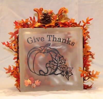 Glass block, Vinyl decal, Thanksgiving, Fall,Craft, nightlight, leaves, decor - Halloween Glass Block Crafts