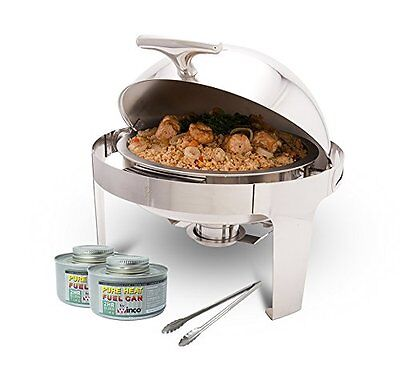 Winco Round Roll-Top Chafer with Stand, Stainless Steel Chafing Dish Set