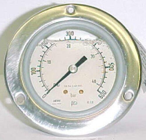 "Haenni 600 Psi 2-1/2"" Ss Liquid Filled Bourdon Pressure Gauge Dro63-422-211"