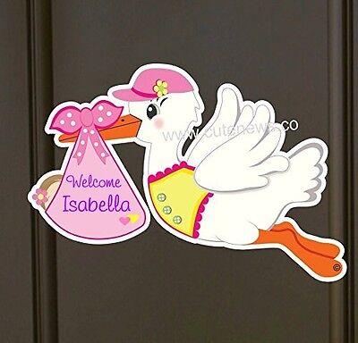It's a Girl Stork Custom Sign, New Baby Door Hanger, Welcome Birth Announcement ()