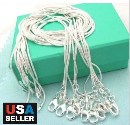 """Jewellery - 5pcs/lot 925 Sterling Silver Plated Snake Chain Necklace 1mm 18"""" 20"""" 22"""" 24"""""""