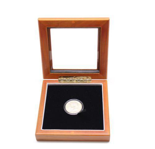 single coin wood display box