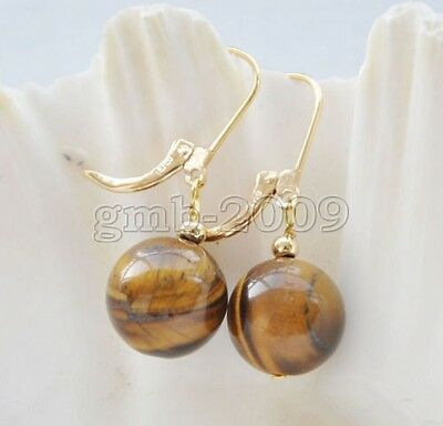 (Fashion Women's 14mm Natural Yellow Tiger Eye Stone 14k GP Leverback Earrings)