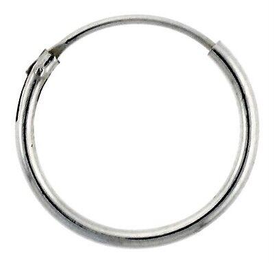 14mm Endless Hoop Earrings (1mm Sterling Silver Endless Hoop Earrings 14mm)