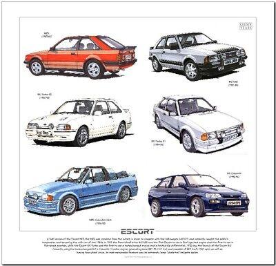 FORD ESCORT MkIII MkIV MkV Art Print - RS1600i RS Turbo Cosworth XR3i Cabriolet