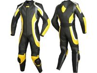Black/Yellow Motorbike Leather Racing Suit, 1or2pc