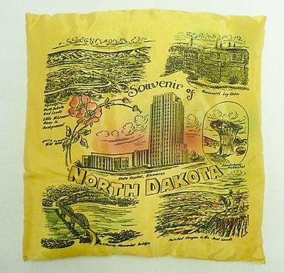 OLD SATIN PILLOW SOUVENIR OF NORTH DAKOTA