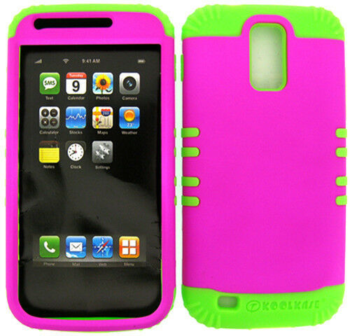 Hybrid Silicone Impact Cover Case+T-Mobile Galaxy S2 T989 Barbie Pink Snap Lime