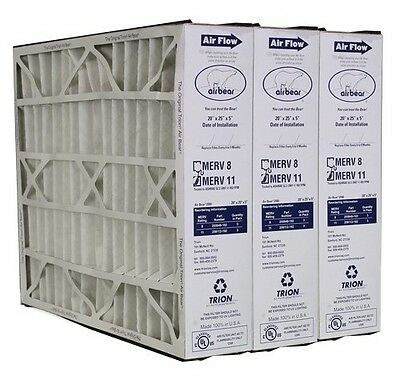 "Trion Air Bear 259112-102 (3 Pack) Pleated Furnace Air Filter 20""x25""x5"" MERV 11"