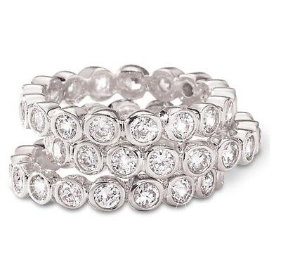 Silver Tone Flawless Simulated Diamond 3-Piece Stack Ring Set
