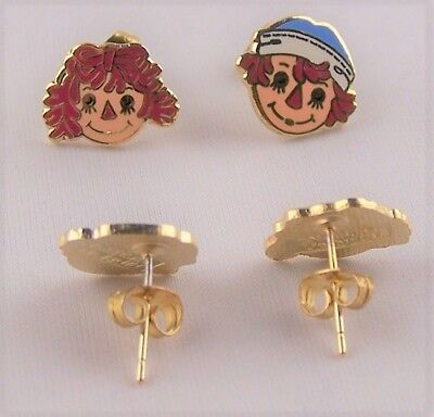 Raggedy Ann and Andy Jewelry Post Earrings Collectibles Classic Stud Gifts ()
