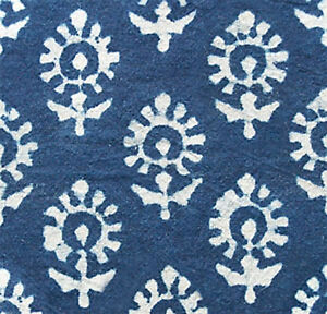 2½ Yards, Hand Block Print, Cotton. Natural Indigo. Indienne, India, Dabu Fabric