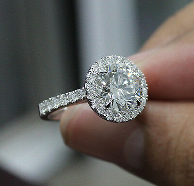 2.10 Ct. Natural Round Cut Halo Pave Diamond Engagement Ring - GIA Certified 2