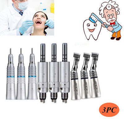 3-set Dental Slow Low Speed Handpiece Contra Angle With 4 Hole E-type Air Mortor