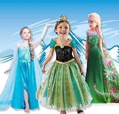 (Disney Frozen Girls Inspired Princess Dress Anna Elsa Party Fancy Dress Costume)