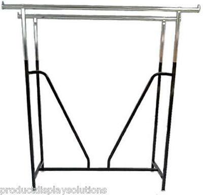 Commercial Clothing Double Bar H Rack Adjustable H 48-72 W V-brace Black