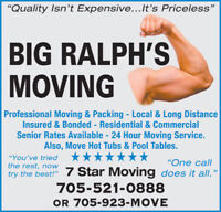 #1 Sudbury's Best  Big Ralph's Long Distance Moving 705-923-MOVE