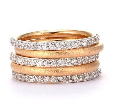 925 Sterling Silver flawless Simulated Diamond & Gold over Silver Stack Ring Set