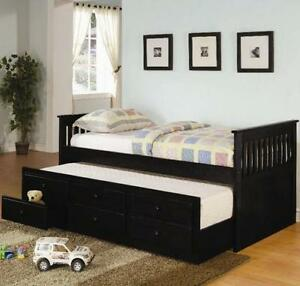 Twin Captain's Bed with Storage Drawers in Black