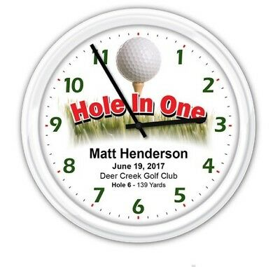 Golf Hole In One Personalized SILENT Wall Clock - Golfer Trophy Ball Club - GIFT - Hole In One Gift