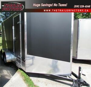 New Cargo Trailer 7'x14' V-Nose Matte Black, Financing Available