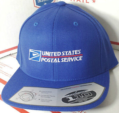 149d2186aae USPS POSTAL FLEXFIT ROYAL WOOL BLEND FLAT BILL SNAPBACK HAT WITH POSTAL LOGO