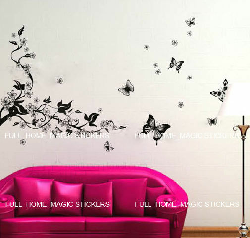 VINE FLOWERS Wall Stickers Art Decal Reusable &Removable