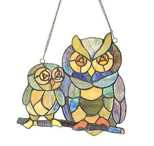 STYLE AT HOME TIFFANY STYLE OWL GLASS WINDOW PANEL- mnx