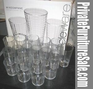 New Circleware Windowpane Glass Set - 18pc. Drinkware Set