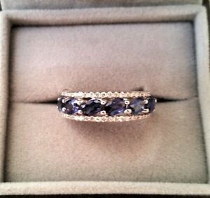 Bague Magnifique Saphir Ceylan & Diamants Brillants Or Blanc 18k