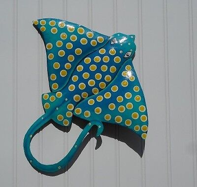 "OUTDOOR HAITIAN 13"" TEAL METAL EAGLE RAY HANGING TROPICAL WALL ART DECOR"