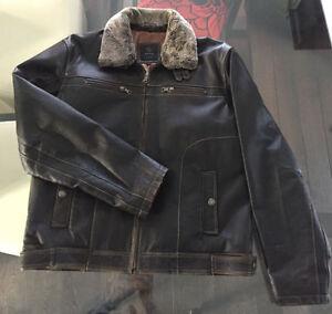 Manteau de cuir brun foncé pour Homme