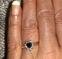 Heart Shaped Sapphire and Diamond Brand New 14k Engagement Ring