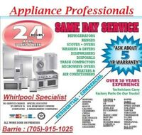 BARRIE'S #1 IN APPLIANCE REPAIR. CALL US @705-915-1025