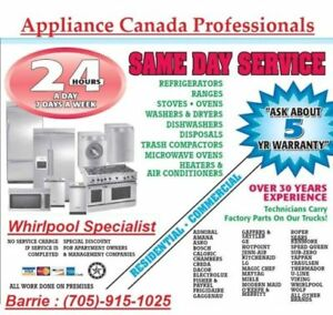 APPLIANCE SERVICE AVAILABLE WITHIN A HOUR!!!(705)-915-1025